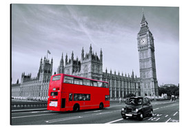 Alubild  Red Bus auf Westminster Bridge - Art Couture